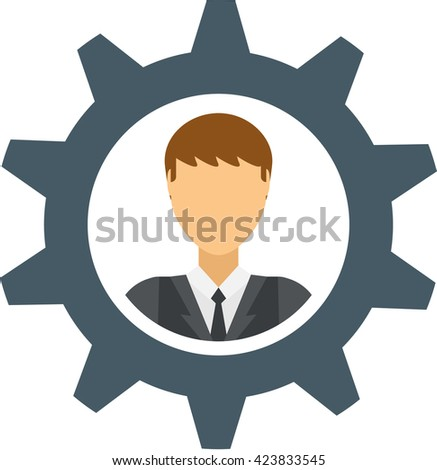 Human resourses gear design and human mechanism concept. Human resourses technology machine business and cog human resourses people cogwheel brain teamwork machinery. Engineering mechanical man. - stock vector