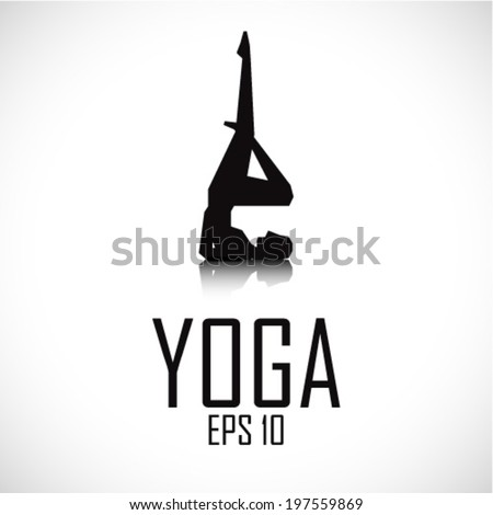 human silhouette in yoga pose - stock vector
