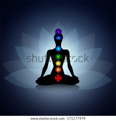 Human silhouette in yoga pose with chakras - stock vector