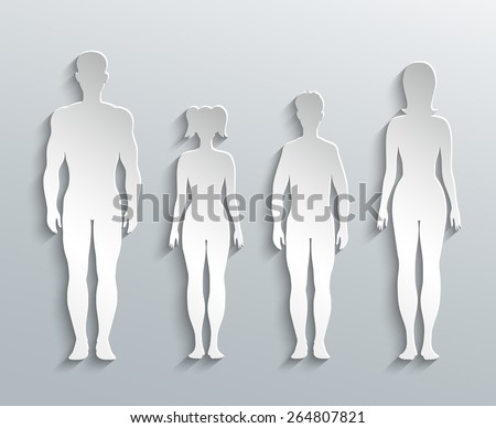Human silhouettes. Man, Woman and Children paper outline - stock vector