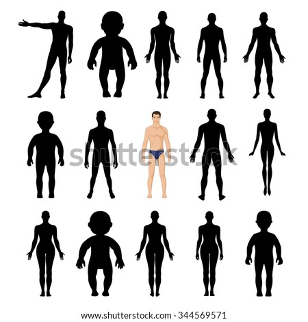Human silhouettes template figure (front and back view), vector illustration isolated on white background