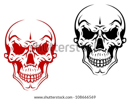 Human skull for horror or halloween design as a logo. Jpeg version also available in gallery - stock vector