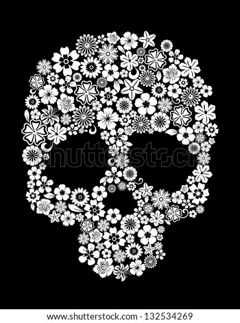 Human skull in floral style for ecology concept design. Jpeg (bitmap) version also available in gallery - stock vector