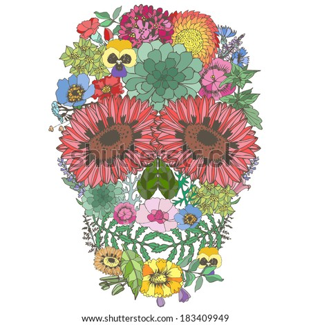 Human skull made ??of flowers. Los muertos. Vector illustration. - stock vector