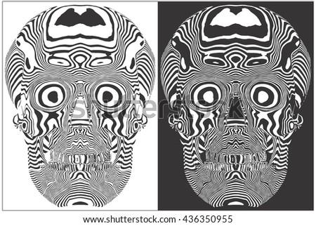 Human Skull Stripes Vector 07 - stock vector
