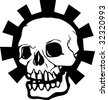 Human Skull with a gear halo behind it. - stock vector