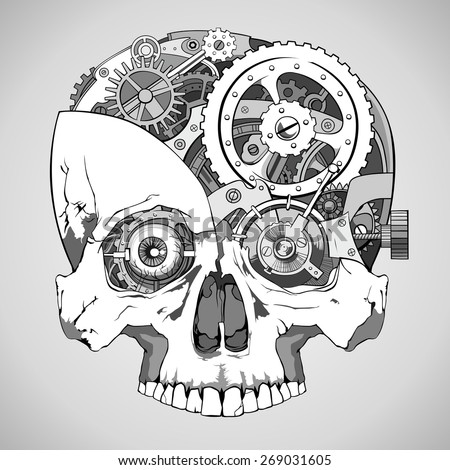human skull with clockwork mechanism inside, vector - stock vector