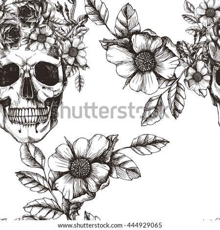 Human skull with flower wreath and roses. Los muertos. Vector seamless pattern in trendy style. Fashion illustartion. - stock vector