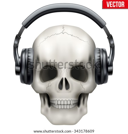 Human Skull with headphones. Vector Illustration on isolated white background.