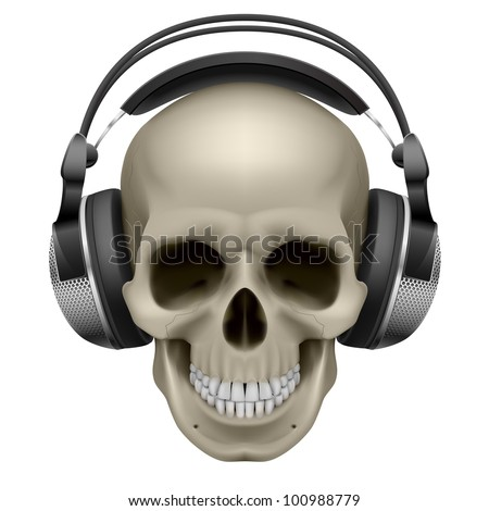 Human skull with music headphones. Illustration on white