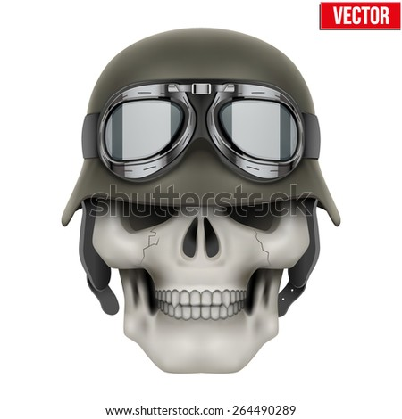 Human skulls with German Army helmet. Vector Illustration isolated on a white background - stock vector