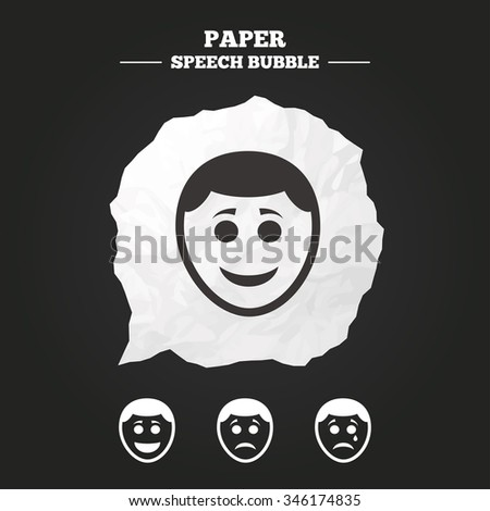 Human smile face icons. Happy, sad, cry signs. Happy smiley chat symbol. Sadness depression and crying signs. Paper speech bubble with icon. - stock vector