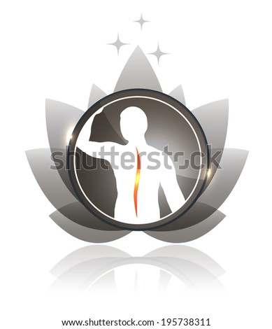 Human spine and flower beautiful icon with little reflection, beautiful neutral colors with sun beams and stars at the top - stock vector