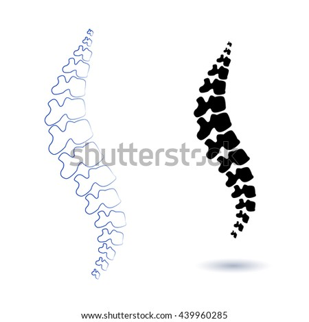 Human spine isolated on a white background. Vector illustration. Black and white  silhouette spine diagnostic symbol, design, sign. Diagnostic center vector human spine silhouettes Spine.