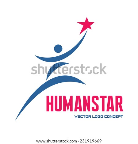 Human star - vector logo concept illustration for business company, media portal, sport club, creative agency etc. Human character. People logo sign. Vector logo template. Design element. - stock vector
