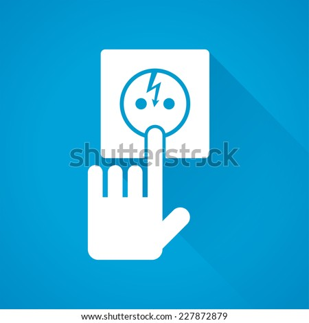 Human sticks his finger into an electrical outlet - stock vector