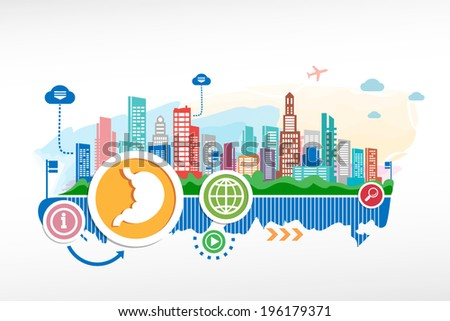 Human stomach and cityscape background with different icon and elements. Design for the print, advertising. - stock vector