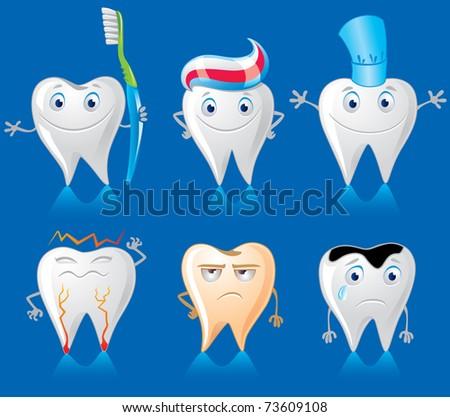 Human Teeth Characters - stock vector