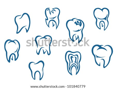 Human teeth set isolated on white background for dental medicine background. Jpeg version also available in gallery - stock vector