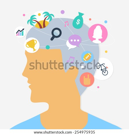Human thoughts abstract vector illustration, flat style