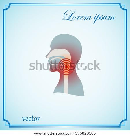 human,  throat, pain, vector, - stock vector