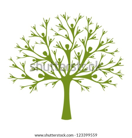 Human Tree. A vector tree created of human silhouettes. Concept of support, help and teamwork. Family tree.  - stock vector