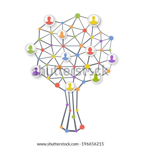Human tree network - stock vector