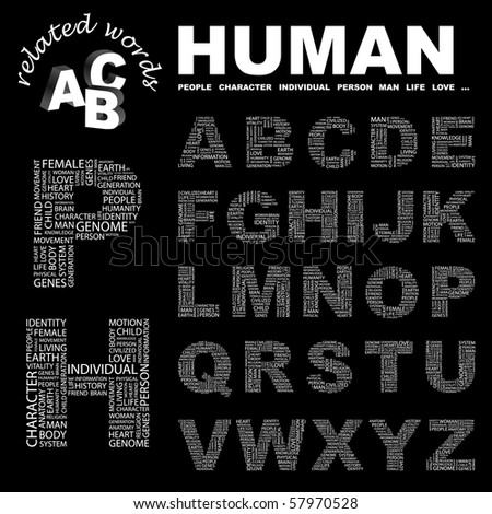 HUMAN. Vector letter collection. Illustration with different association terms.