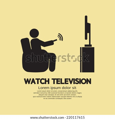 Human Watching Television Symbol Vector Illustration - stock vector