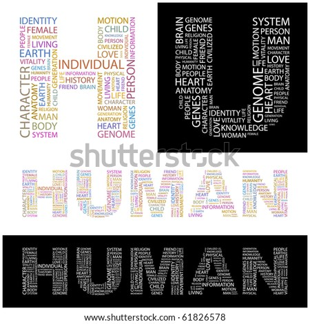HUMAN. Word collage. Illustration with different association terms. - stock vector
