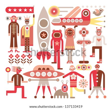 Humans meet friendly aliens from other planets. Space travelers. Vector illustration on white background. - stock vector