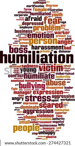 Humiliation word cloud concept. Vector illustration