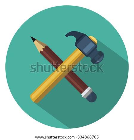 hummer pencil flat icon - stock vector