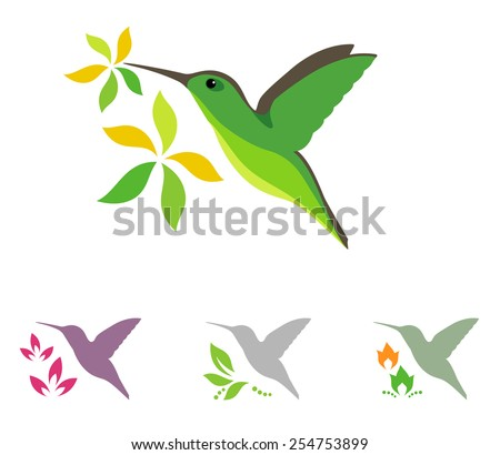 Humming bird and flowers vector icons - stock vector