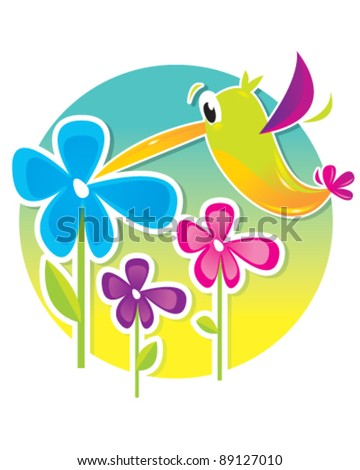 Hummingbird and Flowers - stock vector