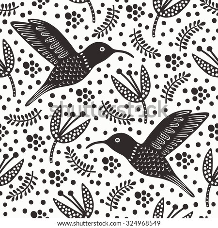 Hummingbird black and white seamless pattern. Vector illustration. - stock vector