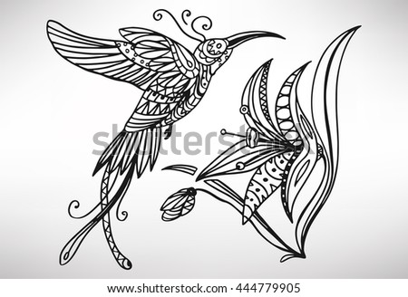 Hummingbird Animal Coloring Pages. Hummingbird  colibri Hand drawn with ethnic pattern Coloring page isolated Illustration Brooch Pearls Precious Stones Filigree Stock