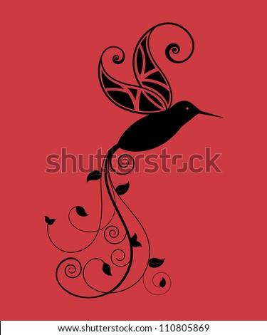 Hummingbird (one piece) - stock vector