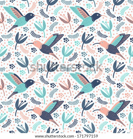 Hummingbird seamless pattern  - stock vector