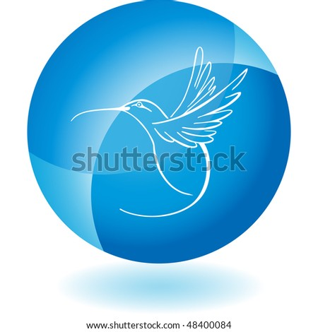 Hummingbird web button isolated on a background - stock vector