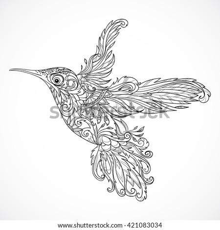 Hummingbird Floral Ornament Tattoo Art Retro Stock Photo Vector Illustration 421083034