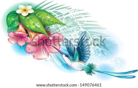 Hummingbird Flower Arrangement Hummingbird With Flowers