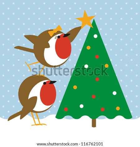 humorous christmas card with cute robins placing a star on a christmas tree - stock vector