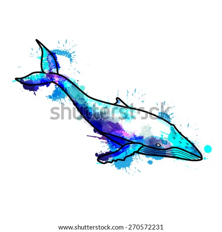 Humpback whale made of colorful  splashes - stock vector