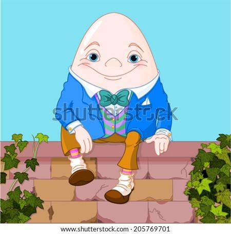 Humpty Dumpty egg sitting on a brick wall - stock vector