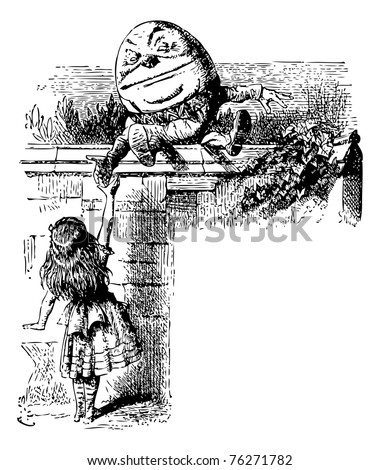 Humpty Dumpty - Through the Looking Glass and what Alice Found There original book engraving. Alice is shaking hand with Humpty Dumpty, who is sitting on top of a wall. - stock vector