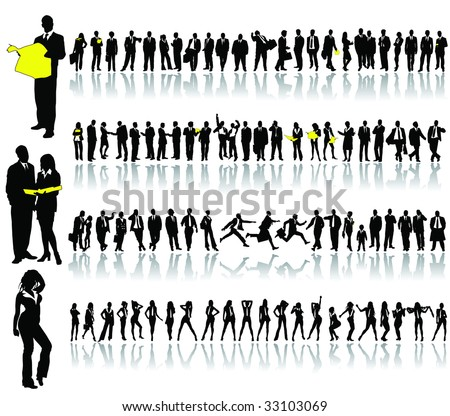 hundred business people vector - stock vector