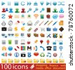 Hundred shiny vector Icons for Web Applications. Web, business, media, shopping, finance, internet. - stock vector