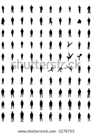 hundreds of men silhouettes(vectors) - stock vector