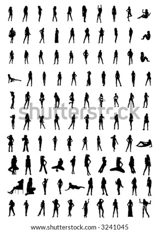 hundreds of women silhouettes(vectors) - stock vector